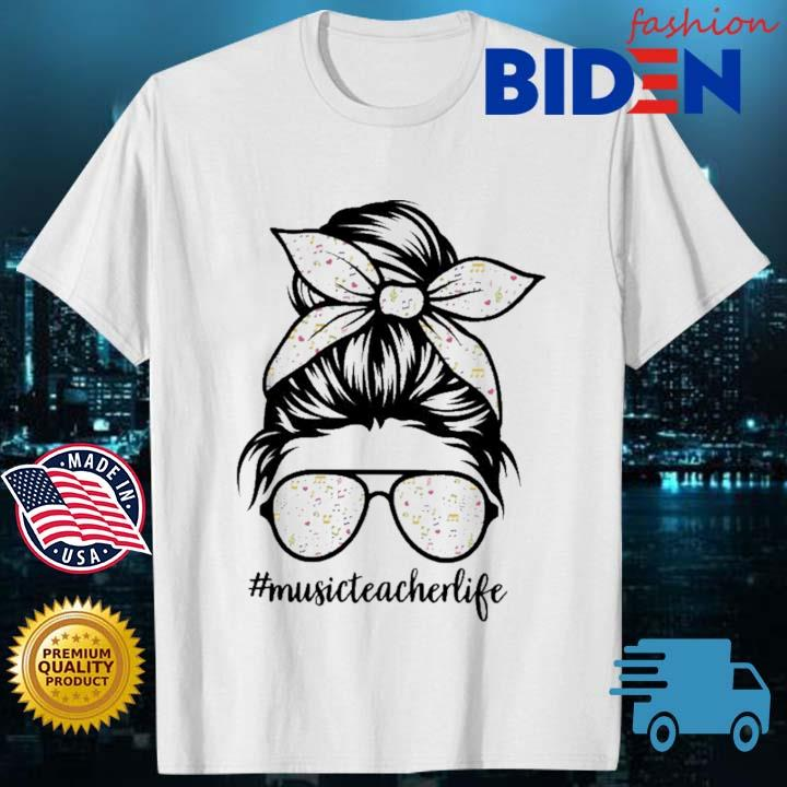 Music Teacher Messy Bun Life Hair Glasses Musical Notes Shirt